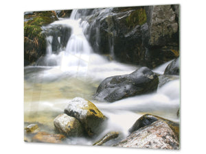 Tempered GLASS Kitchen Board – Impact & Scratch Resistant; D08 Nature Series: Waterfall 1