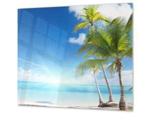 Tempered GLASS Kitchen Board – Impact & Scratch Resistant; D08 Nature Series: Marine coast 8