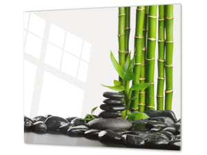 Tempered GLASS Kitchen Board – Impact & Scratch Resistant; D08 Nature Series: Bamboo zen stones