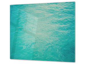 CUTTING BOARD and Cooktop Cover - Impact & Shatter Resistant Glass D02 Water Series: Texture 130