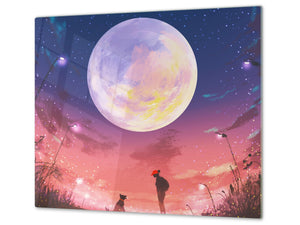 Worktop saver and Pastry Board D13 Images: Moon with flowers