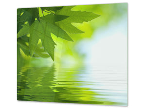 Tempered GLASS Kitchen Board – Impact & Scratch Resistant; D08 Nature Series: Leaves 4