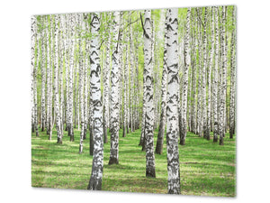 Tempered GLASS Kitchen Board – Impact & Scratch Resistant; D08 Nature Series: Trees 3
