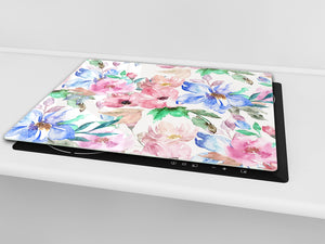 Tempered GLASS Cutting Board – Worktop saver  D15 Drawings Series: Flower 25