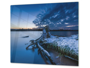 Tempered GLASS Kitchen Board – Impact & Scratch Resistant; D08 Nature Series: Marine coast 5