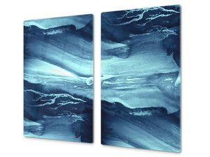 CUTTING BOARD and Cooktop Cover - Impact & Shatter Resistant Glass D02 Water Series: Texture 121
