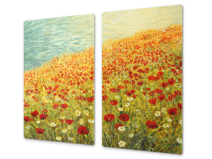 Glass Cutting Board and Worktop Saver D06 Flowers Series: Poppies 4