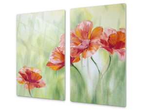 Glass Cutting Board and Worktop Saver D06 Flowers Series: Poppies 2