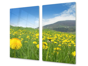 Tempered GLASS Kitchen Board – Impact & Scratch Resistant; D08 Nature Series: Flowers