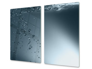 CUTTING BOARD and Cooktop Cover - Impact & Shatter Resistant Glass D02 Water Series: Water 1