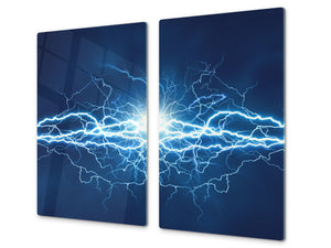 Tempered GLASS Cutting Board D01 Abstract Series: Electricity