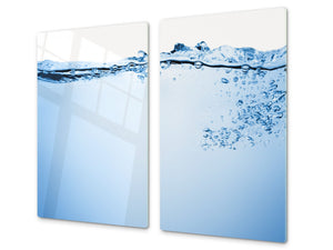 CUTTING BOARD and Cooktop Cover - Impact & Shatter Resistant Glass D02 Water Series: Water 4