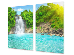 Tempered GLASS Kitchen Board – Impact & Scratch Resistant; D08 Nature Series: Waterfall 5