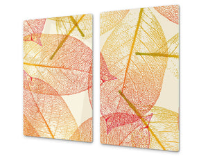 Tempered GLASS Kitchen Board – Impact & Scratch Resistant; D08 Nature Series: Leaves 35