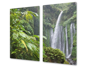 Tempered GLASS Kitchen Board – Impact & Scratch Resistant; D08 Nature Series: Waterfall 4