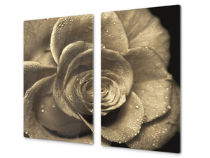 Glass Cutting Board and Worktop Saver D06 Flowers Series: Flower 15