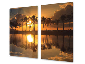 Tempered GLASS Kitchen Board – Impact & Scratch Resistant; D08 Nature Series: Trees 1