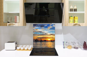 Glass kitchen backsplash – Photo backsplash BS20 Seawater Series: West Of The Yachts