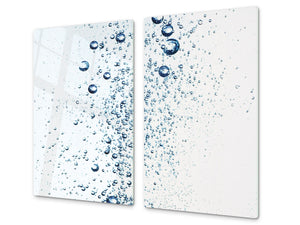 CUTTING BOARD and Cooktop Cover - Impact & Shatter Resistant Glass D02 Water Series: Water 24
