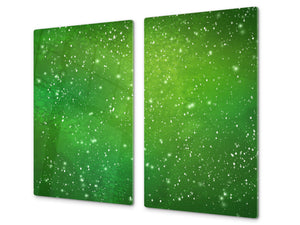 Tempered GLASS Kitchen Board – Impact & Scratch Resistant D10A Textures Series A: Green starry sky