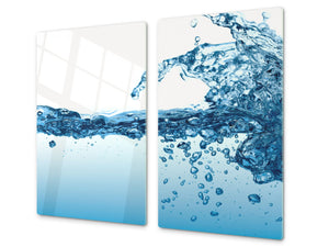 CUTTING BOARD and Cooktop Cover - Impact & Shatter Resistant Glass D02 Water Series: Water 21