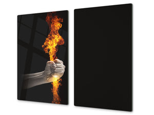 Tempered Glass Cutting Board and Worktop Saver D03 Fire Series: Fire 1