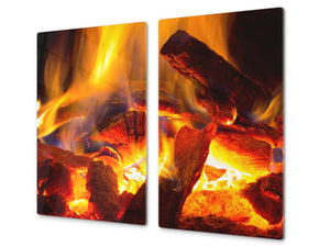 Tempered Glass Cutting Board and Worktop Saver D03 Fire Series: Fire 7