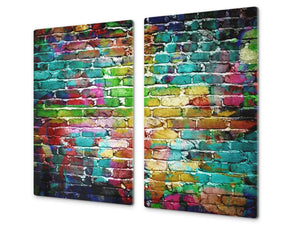 Tempered GLASS Kitchen Board – Impact & Scratch Resistant D10A Textures Series A: Brick wall 12