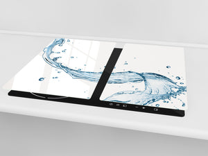 CUTTING BOARD and Cooktop Cover - Impact & Shatter Resistant Glass D02 Water Series: Water 12