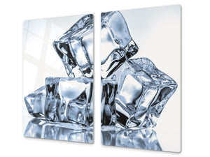 CUTTING BOARD and Cooktop Cover - Impact & Shatter Resistant Glass D02 Water Series: Ice cubes 12