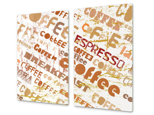 KITCHEN BOARD & Induction Cooktop Cover D05 Coffee Series: Inscription