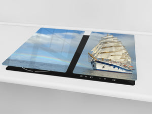 CUTTING BOARD and Cooktop Cover - Impact & Shatter Resistant Glass D02 Water Series: Ship 3