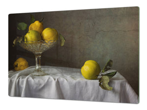 UNIQUE Tempered GLASS Kitchen Board Fruit and Vegetables series DD02 Apples