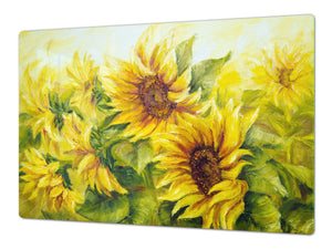 ENORMOUS  Tempered GLASS Chopping Board - Flower series DD06A Sunflower 3
