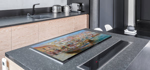 GIGANTIC CUTTING BOARD and Cooktop Cover- Image Series DD05A Italian boats