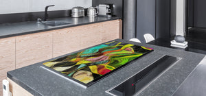 UNIQUE Tempered GLASS Kitchen Board – Abstract Series DD14 Colorful spots 2