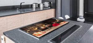 BIG KITCHEN PROTECTION BOARD or Induction Cooktop Cover - Wine Series DD04 Champagne for two