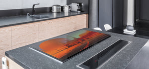 Tempered GLASS Chopping Board – Enormous Induction Cooktop Cover - City Series DD12 Desert city
