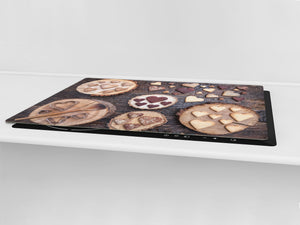 Tempered GLASS Cutting Board - Glass Kitchen Board; Cakes and Sweets Serie DD13 Cookies hearts