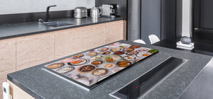 BIG KITCHEN BOARD & Induction Cooktop Cover – Glass Pastry Board - Food series DD16 Indian feast