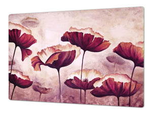 ENORMOUS  Tempered GLASS Chopping Board - Flower series DD06A Poppies 3