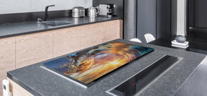 Gigantic KITCHEN BOARD & Induction Cooktop Cover - Water Series DD10 Water wave