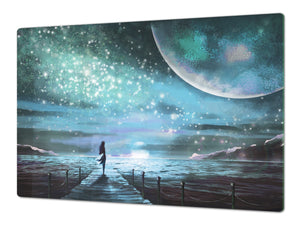 Induction Cooktop Cover – Glass Worktop saver: Fantasy and fairy-tale series DD18 Moonlit night
