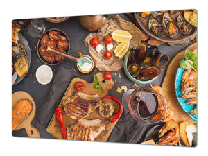 BIG KITCHEN BOARD & Induction Cooktop Cover – Glass Pastry Board - Food series DD16 Seafood 2