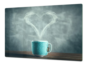 Worktop saver and Pastry Board – Glass Kitchen Board- Coffee series DD07 I love coffee 2