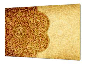 HUGE TEMPERED GLASS CHOPPING BOARD ; Moroccan design Series DD21 Moroccan rose 1