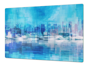 Tempered GLASS Chopping Board – Enormous Induction Cooktop Cover - City Series DD12 A city in the picture
