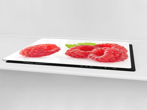 UNIQUE Tempered GLASS Kitchen Board Fruit and Vegetables series DD02 Raspberries