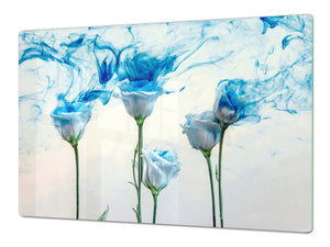Induction Cooktop Cover – Glass Cutting Board- Flower series DD06B A blue rose