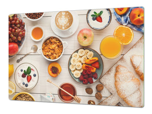 BIG KITCHEN BOARD & Induction Cooktop Cover – Glass Pastry Board - Food series DD16 Breakfast 2